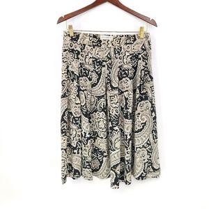 Retro Liz Claiborne 100% Silk Paisley Print Skirt